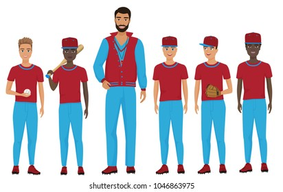 School kids children baseball team with a coach staing together. Vector illustration.