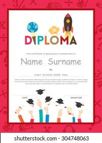 School Kids Diploma certificate background Template