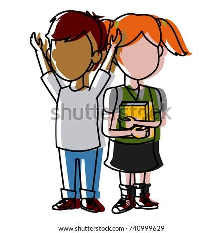 School Kids Friends Cartoon Stock Vector Royalty Free 740999629