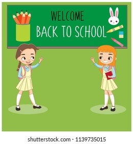school kids happy back to school, cute cartoon vector isolated with background.