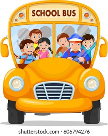 School kids riding a school bus