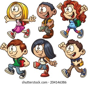 School kids. Vector clip art illustration with simple gradients. Each on a separate layer.