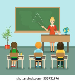 School lesson, children listen teacher in the classroom. Vector flat illustration.