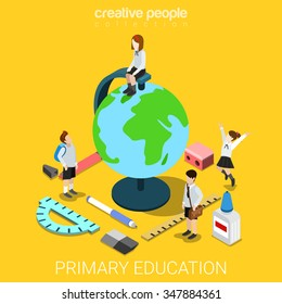 School life geography flat 3d isometry isometric primary education concept web vector illustration. Schoolboy schoolgirl stationery accessory around big globe. Creative people collection.