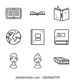 School line style icon set design, Education class lesson and knowledge theme Vector illustration