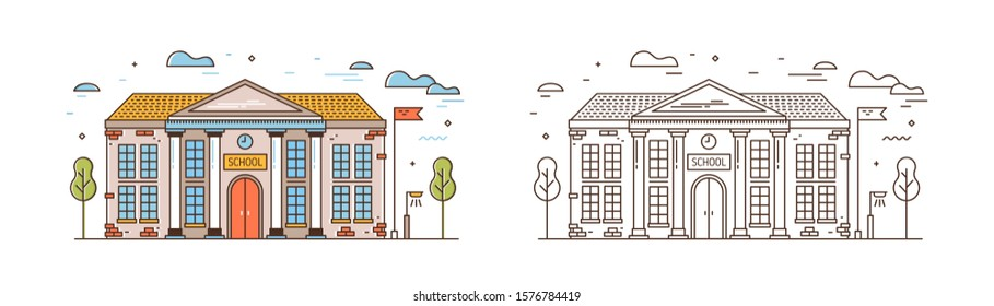 School linear vector illustration. Modern educational institution exterior isolated on white background. Primary education building. Academic campus with flag outline design element.