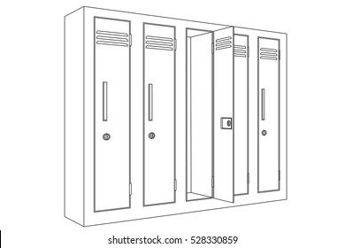 school locker with open door  outline icon  vector illustration isolated on  white background
