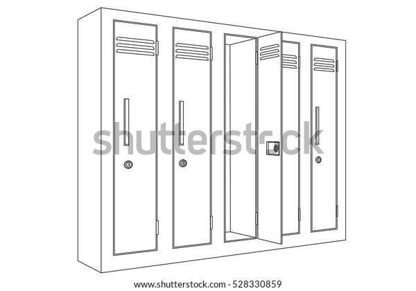 School Locker Open Door Outline Icon Stock Vector Royalty Free 528330859