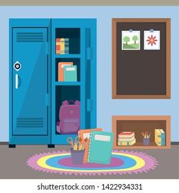 School locker and supplies design