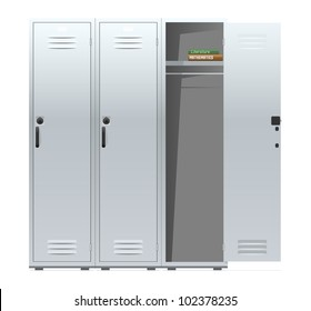 School Lockers With Combination Locks Vector Illustration