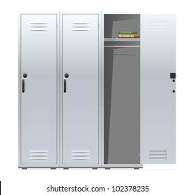 School lockers with combination locks. Vector illustration.