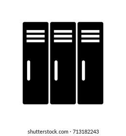 School lockers vector icon black.