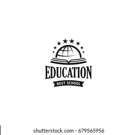 School logo vector. Monochrome vintage style design educational learning sign. Back to school, university, college retro stamp. Black and white education emblem on white background.