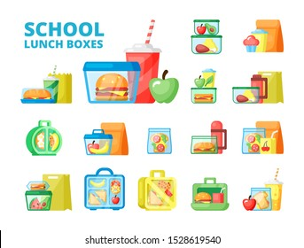 School lunch boxes flat vector illustrations set. Colorful plastic food containers isolated on white background. Homemade sandwiches and fresh fruits in transparent bags. Pupils snack meal concept