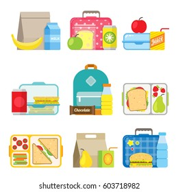 School lunch boxes set. Children's lunch bags and trays with hamburgers, soda, fruts and other food. Kids school lunches icons in flat style.