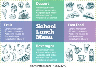 School lunch menu. Sketch icons dessert, beverages, fast food and fruit. isolated vector template design children's menu. hand-drawn ink. trend