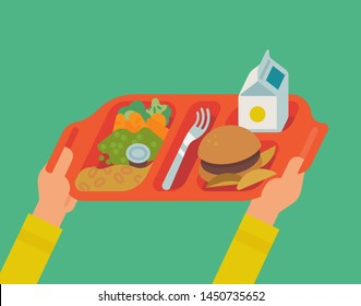 School lunch program concept vector illustration with student hands holding plastic tray with a meal