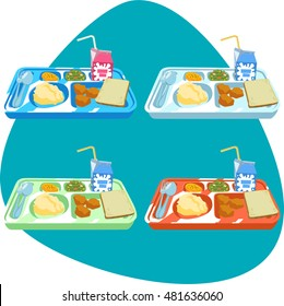 School lunch tray with food. White bread, milk, meat, cookies, salad, fork, spoon. Isolated. Set with different tray colors.