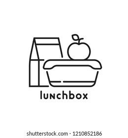 school lunchbox thin line icon. flat stroke style trend art modern lunchtime logotype graphic lineart design isolated on white background. concept of snack during break or college healthy food