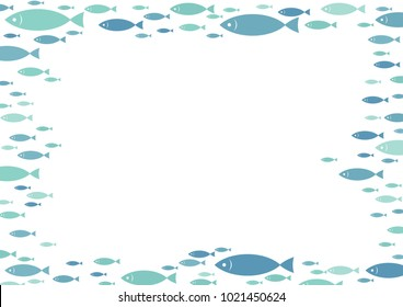 School of mackerel fish are swimming border frame vector.