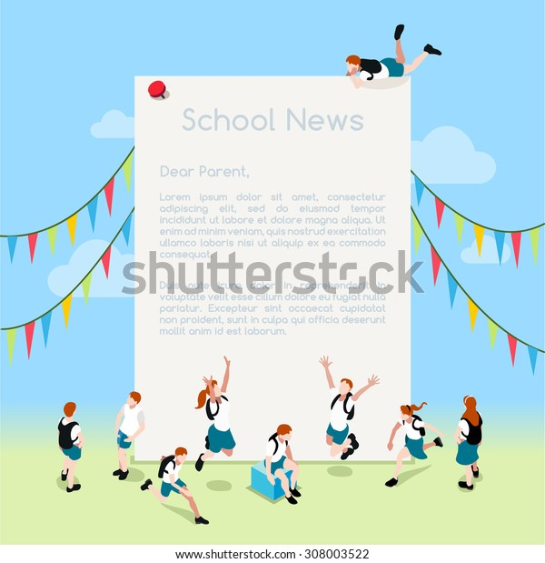 School Magazine Letter theme frame Template. Interacting People Isometric 3D Flat Illustration Message or Note. Advertisement with jumping for joy student group of child vector illustration