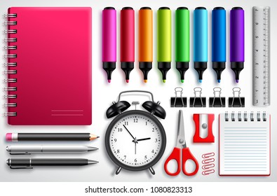 School materials vector set with coloring pens, notebook and office supplies isolated in white background. Educational elements for back to school designs.