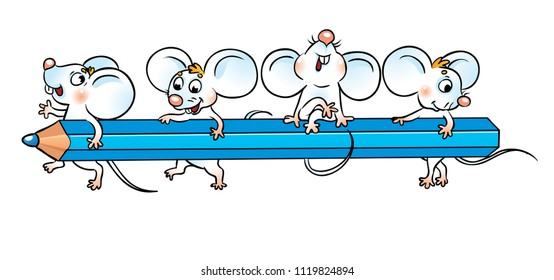 school mice are sitting on a pencil. Isolated on white background.
