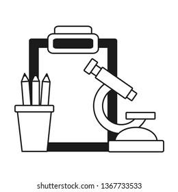 school microscope pencils clipboard