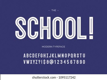 School modern font. Alphabet trendy typography bold style white color for party poster, printing on fabric, t shirt, promotion, decoration, stamp, label, special offer. Cool typeface. 10 eps