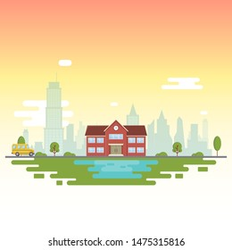 School near the lake, against the backdrop of the city. Vector Illustration