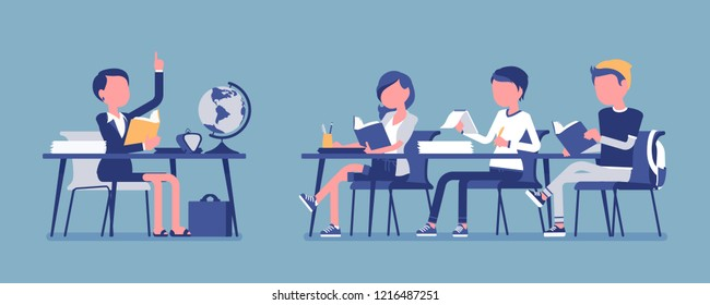 School normal behaviour. Satisfactory, proper and polite conduct in classroom during lesson, students with discipline organized activity. Vector illustration with faceless characters