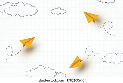 Antecedentes del cuaderno escolar. Aeronaves de papel amarillo volador 3d. Aviones infantiles de dibujos animados en el aire