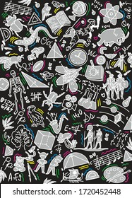 School notebook cover. Background with hand drawn ink school drawings. Vector illustrations for typography of banners, posters, leaflets, cards, covers, brochures, etc. Doodle style. Black background