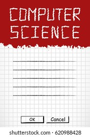 School notebook cover for school subjects in grunge style with splashes and stylized caption, also label for signing on page of copybook in cage. Back to school in red and white. Vector illustration