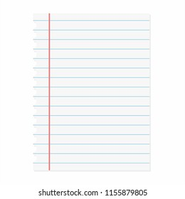 School notebook paper. Blank of note paper. Lined sheet. Vector