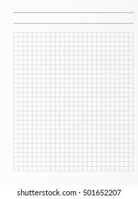 School notebook paper sheet. Exercise book page background. Squared notepad backdrop