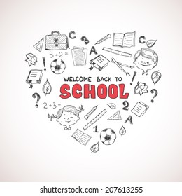 School objects in the shape of heart. Back to school design concept. Included symbols: notebook, ruler, book, football, question mark etc.