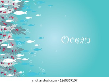 School of ocean fish are swimming with seaweed under the sea border vector for decoration on summer and Christmas summer festival.