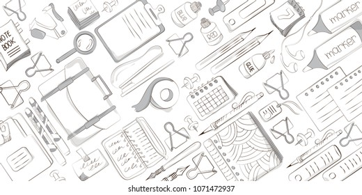 School and office supplies on white background. Background of stationery for graphic design, web banners and printed materials. Vector illustration