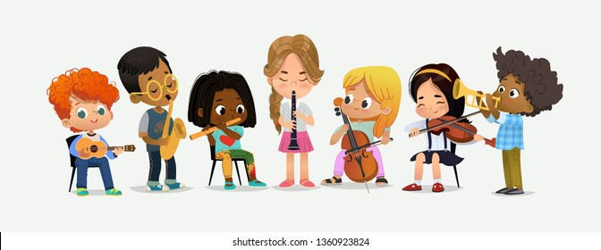 School Orchestra Play Various Music Instrument Trumpet, cello, ukulele, tympani drums, saxophon. Children Together in Classroom. Boy with Saxophone. Happy Teenage Performance. Flat Cartoon Vector Illu