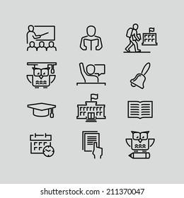 School outline icons
