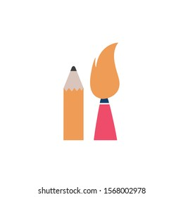 school paint brush with pencil flat style icon vector illustration design