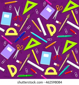 School pattern. Background with school objects. Vector School Illustration