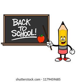 School Pencil with a Back to School Blackboard - A vector cartoon illustration of a School Pencil with a Back to School Blackboard concept.