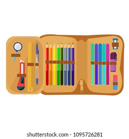School pencil case with various charms. Paint, pencils, notepad, bag, microscope, globe, apple, pen. Back to school. First day in school.
