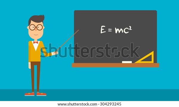 El profesor de física escolar muestra la fórmula en la pizarra. Diseño plano. Ilustración vectorial.
