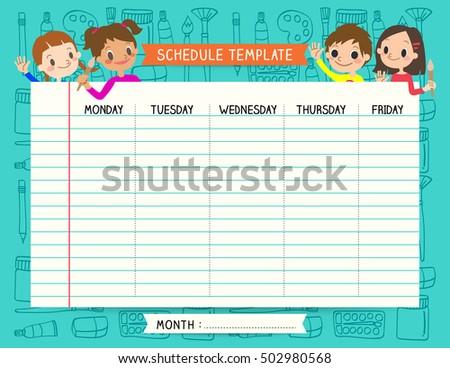 school plan schedule template memos set stock vector royalty free