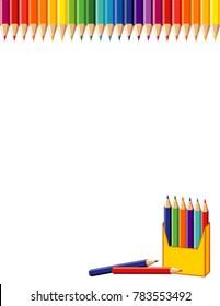 School Poster, Rainbow Border, Box of Colored Pencils
