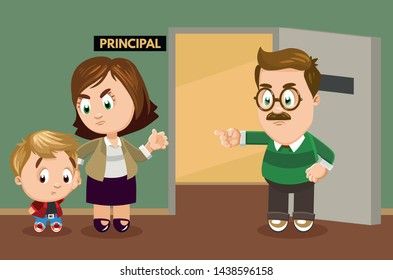 School principal invited parents of schoolboy due to his bad behavior. Teacher standing with pupil in headmaster`s office and complaining about his discipline problems. Cartoon vector illustration.