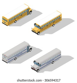 School and prison buses isometric detailed icon set vector graphic illustration